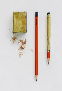 Jim Cutler's Japanese pencils, and the two devices he built for them, literally never leave his side.