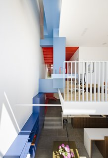 After a Renovation, a Classic San Francisco Victorian Is Now Bursting With Light and Color - Photo 4 of 15 - Three shades of paint—Kensington Blue, Old Blue Jeans, and Denim Wash, all by Benjamin Moore—cover built-ins and delineate space.