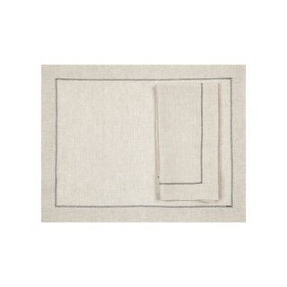Huddleson Linens Natural Linen Placemats with Charcoal Hemstitch