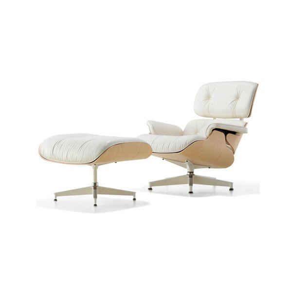 Eames Lounge Chair with Ottoman – White Ash