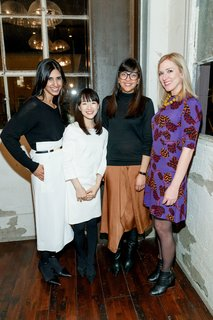 Cuyana cofounder and CXO Shilpa Shah, lifestyle expert Marie Kondo, Cuyana cofounder and CEO Karla Gallardo, and Dwell founder and CEO Lara Deam pose for a photo after dinner.
