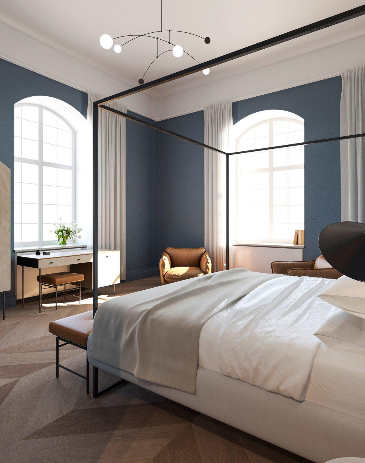 Bedroom, Light Hardwood Floor, Chair, Bench, Bed, and Pendant Lighting  Nobis Hotel Copenhagen