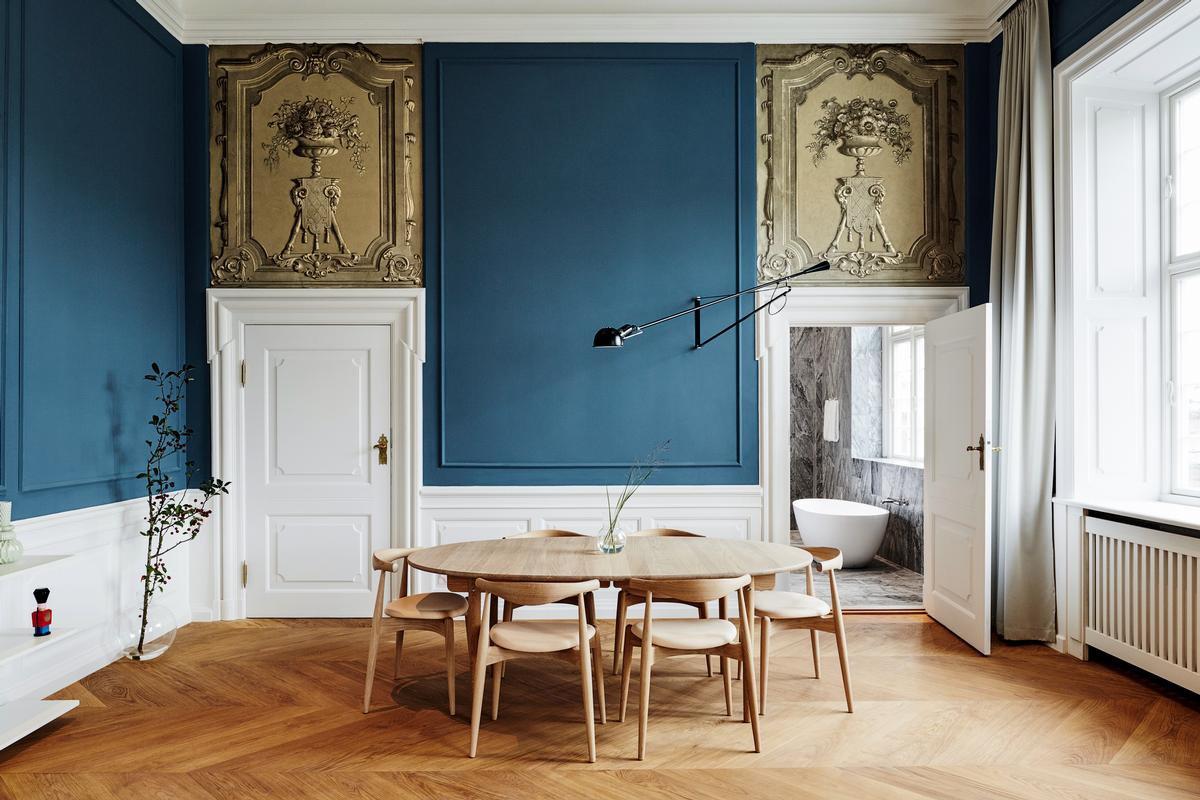 Dining Room, Medium Hardwood Floor, Chair, Table, Shelves, and Wall Lighting  Nobis Hotel Copenhagen