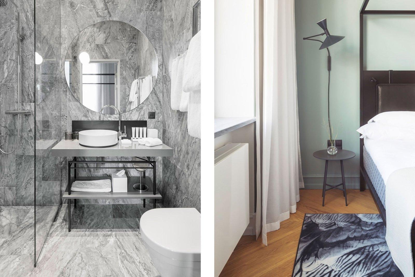 Bath Room, Vessel Sink, One Piece Toilet, and Wall Lighting  Nobis Hotel Copenhagen