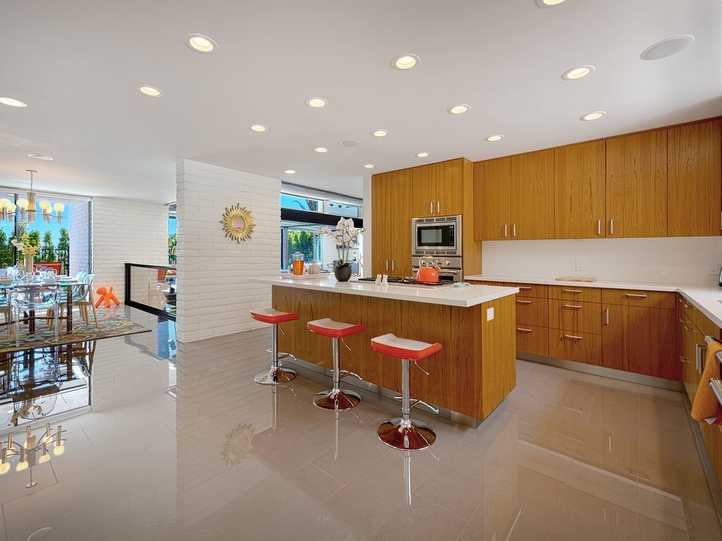 Kitchen, Porcelain Tile Floor, Wood Cabinet, Recessed Lighting, and Engineered Quartz Counter  Midcentury Modern Meets The Mountain