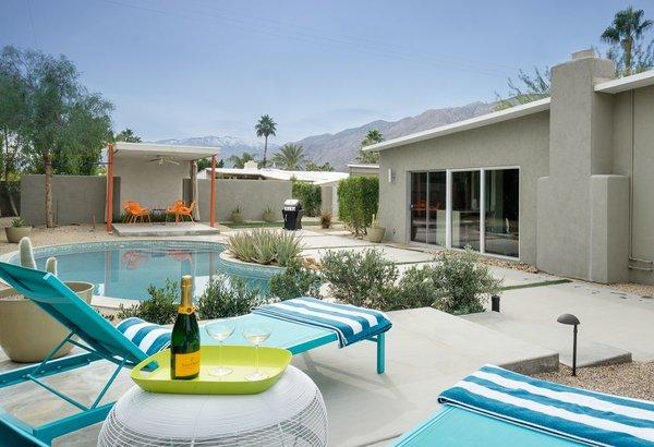 Outdoor, Shrubs, Desert, Back Yard, Concrete, Trees, Swimming, Concrete, and Landscape  Best Outdoor Landscape Desert Photos from Sleek Palm Springs House