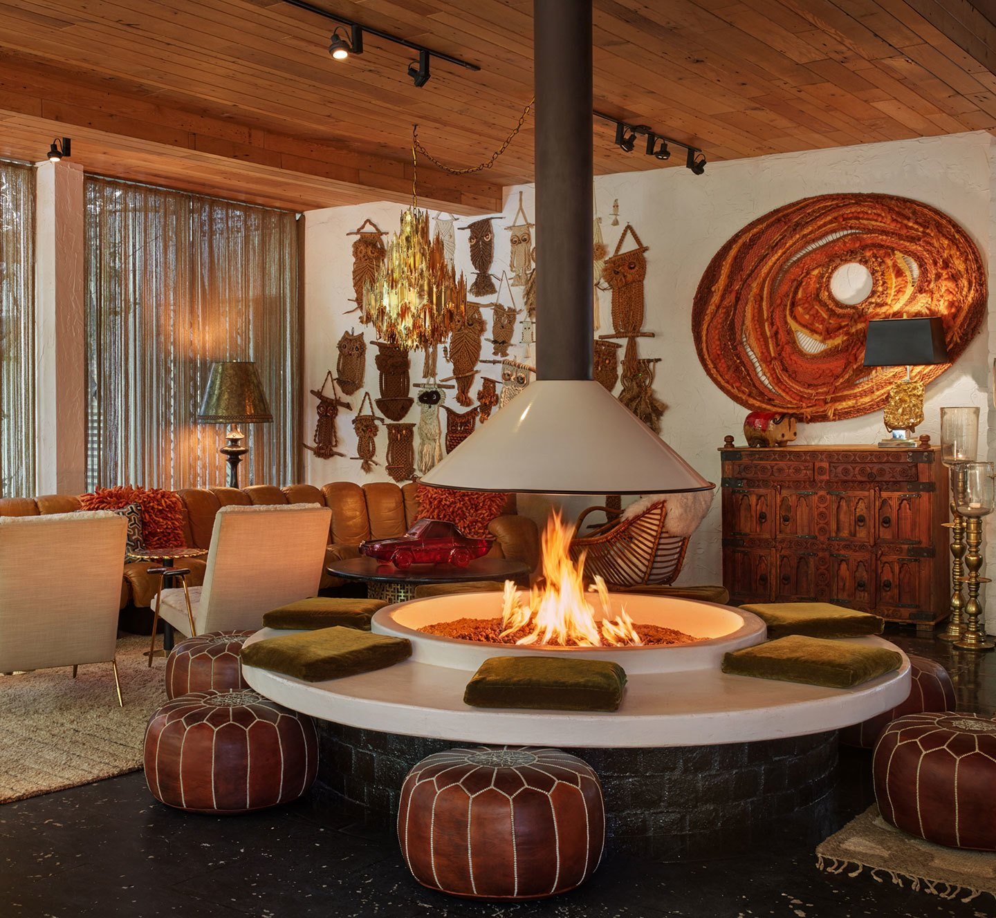 Living Room and Hanging Fireplace  Parker Palm Springs