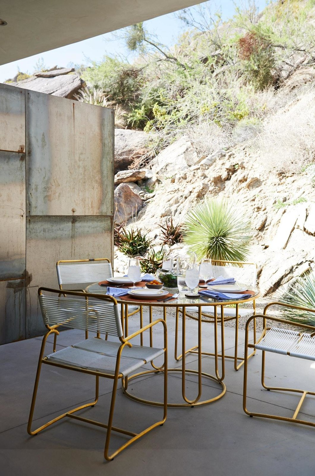 Outdoor, Boulders, Desert, Concrete Patio, Porch, Deck, and Side Yard  On the Rocks