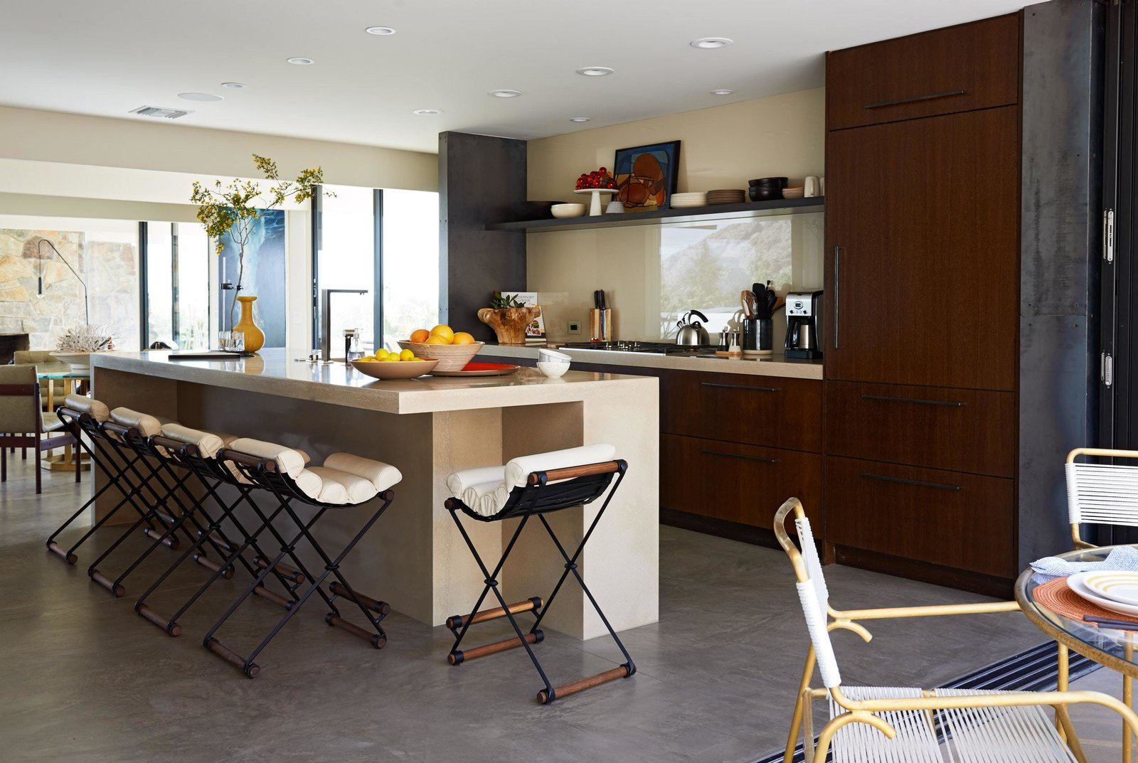 Kitchen, Range, Recessed Lighting, Wood Cabinet, Drop In Sink, and Concrete Floor  On the Rocks