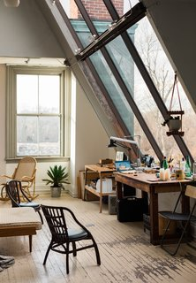 Located in a historic building in Westerly, Rhode Island, Spellman's studio is infused with natural light, thanks to the expansive windows.
