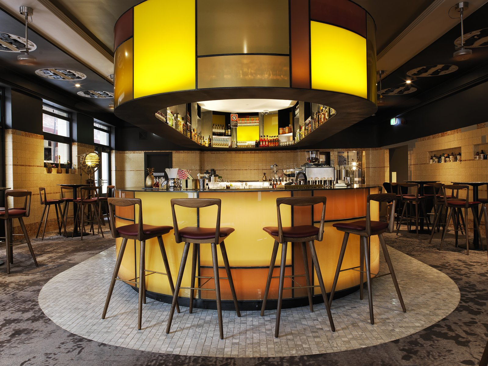 Dining Room, Stools, Recessed Lighting, and Bar  The Old Clare Hotel