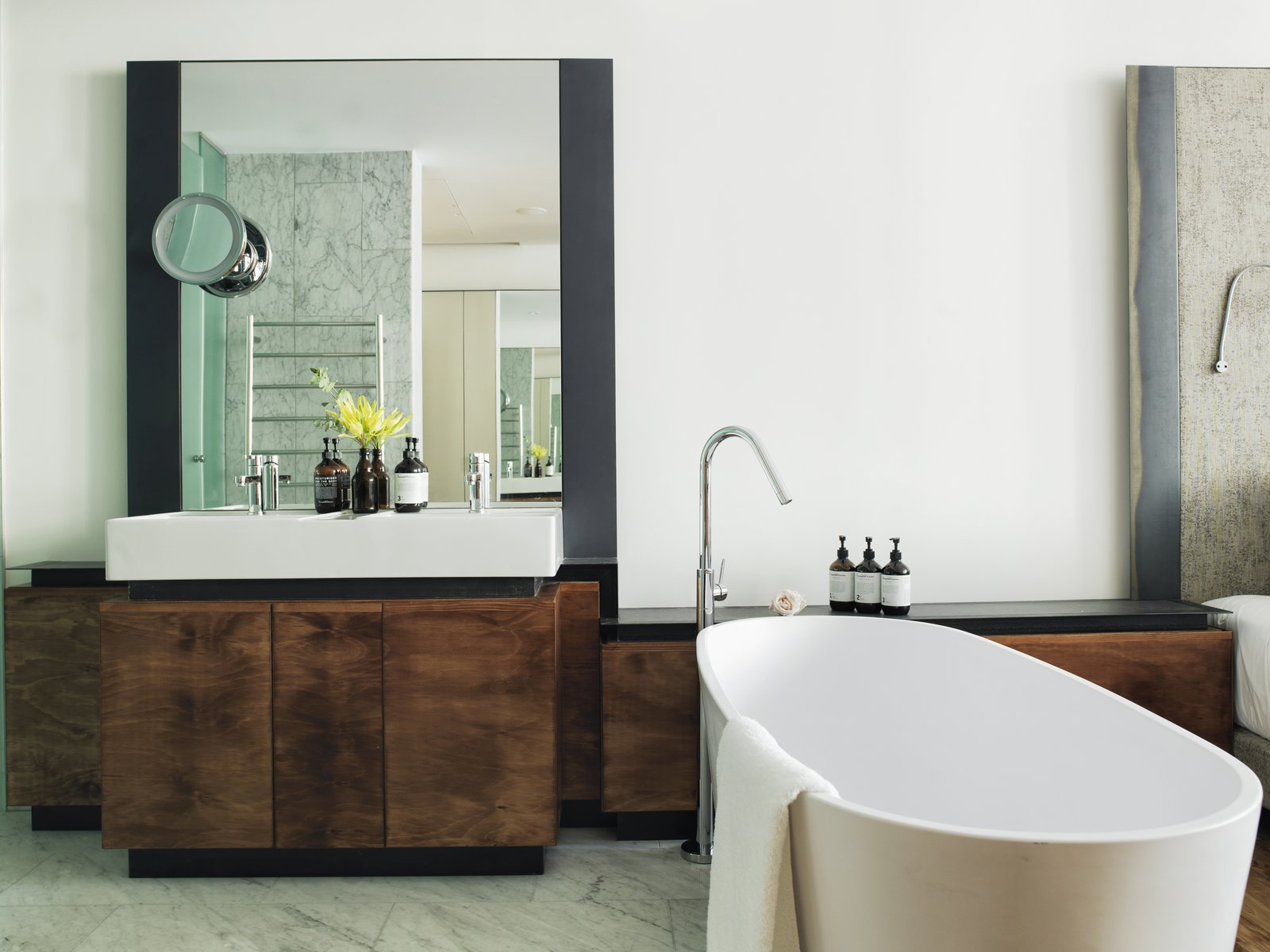 Bath Room, Marble Floor, Freestanding Tub, Vessel Sink, and Marble Wall  The Old Clare Hotel