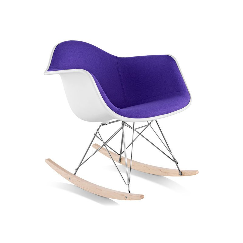 eames upholstered armchair with rocker base by hive modern dwell