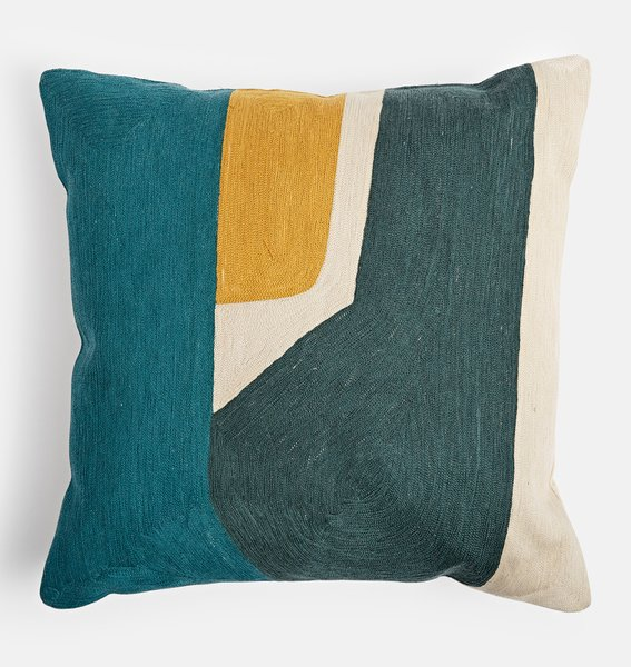 Rejuvenation Parade.Pimlico.Pearl Teal & Yellow Outdoor Pillow