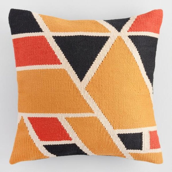 World Market Warm Geometric Woven Indoor Outdoor Throw Pillow