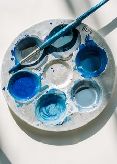 <b>1 Make the Design</b> At her studio in Industry City in Brooklyn, Rebecca Atwood mixed several shades of blue gouache paint to create the exact colors she wanted before designing a pattern in her sketchbook. This would become the basis for Tidal Wave.