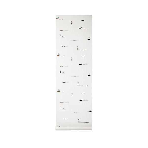 Ferm Living White Seaside Print Wallpaper