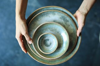 """Making pottery is time intensive,"" says Keenan. ""From wedging, throwing, trimming, applying texture, glazing, firing, sanding and even shipping, the time spent on each individual piece is considerable.  To stay here in San Francisco, where costs of labor and overhead are highest in the country, it requires us to maintain a very high rate of production and sales. The Wescover platform has increased awareness of MMClay and connected me to new markets and a discerning client base.  These are my ideal customers: those that tend to care not only about the product, but also about the artist and the creative process."""