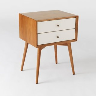 West Elm Mid-Century Nightstand - White + Acorn
