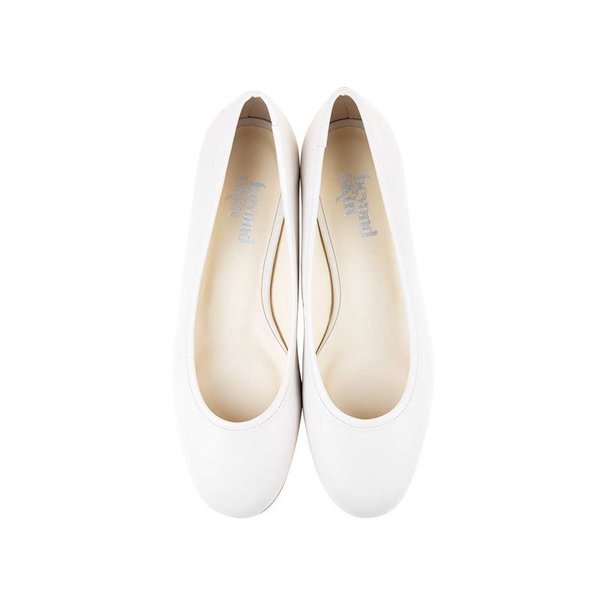 Beyond Skin Cara-B Cream Faux Leather Vegan Flat Shoes
