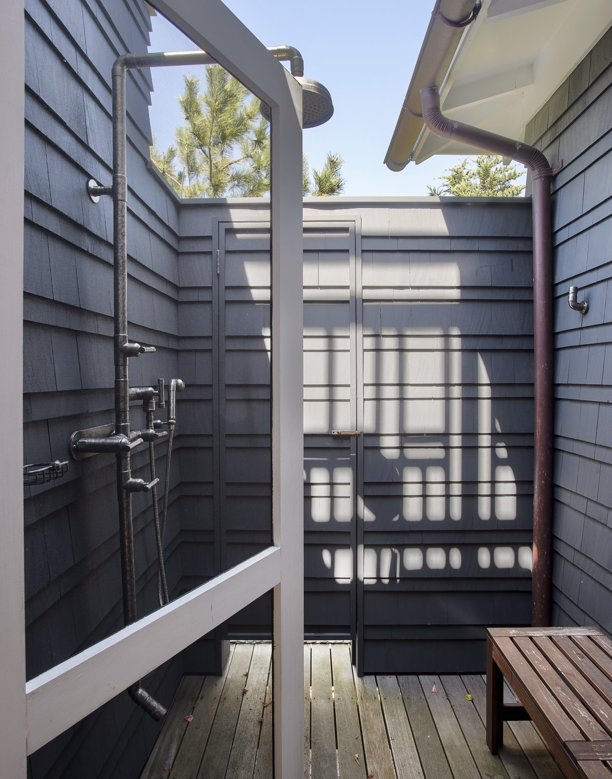 Outdoor, Shower Pools, Tubs, Shower, Wood Patio, Porch, Deck, Small Patio, Porch, Deck, and Decking Patio, Porch, Deck  Best Photos from This Eclectic Beach Bungalow on Fire Island Was Saved After Sandy