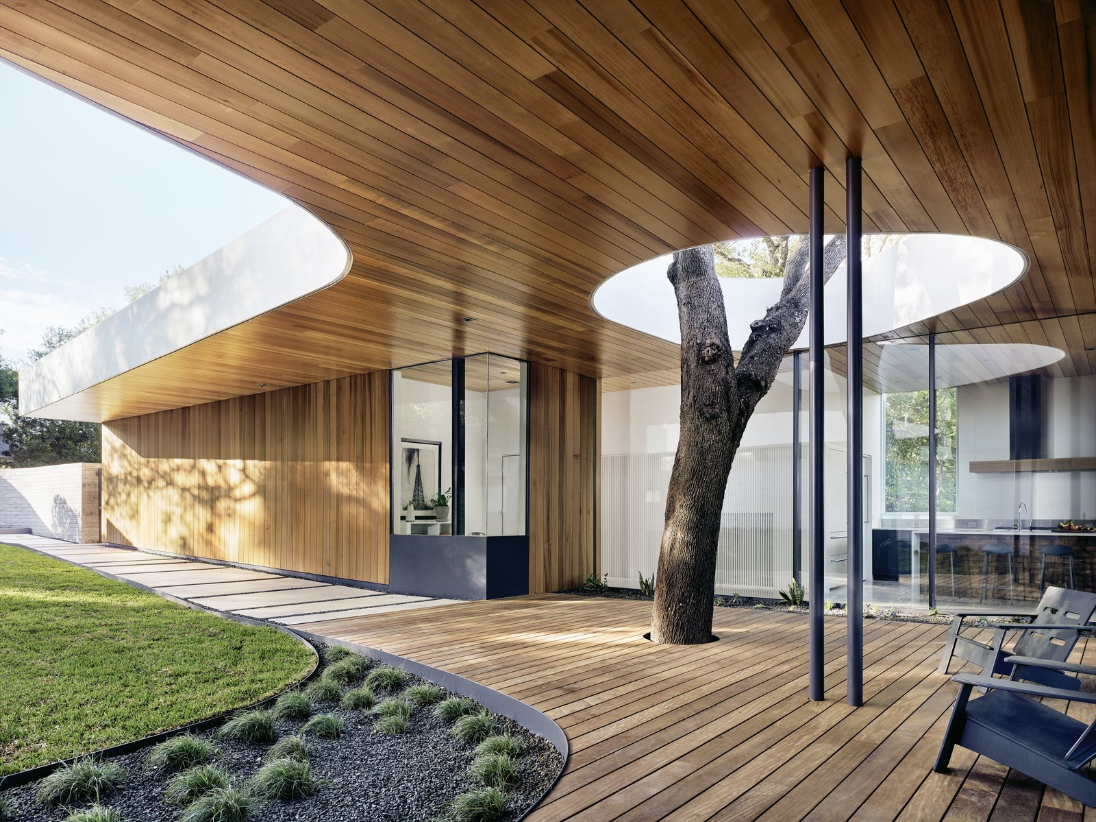 """Julie and Chris Hill's home in Austin is built around a pair of massive oak trees, one of which shoots through an ipe deck, past a pair of Loll deck chairs, and into a void in the overhanging roof. """"The hole also allows light to penetrate deeper into the house,"""" notes designer Kevin Alter."""