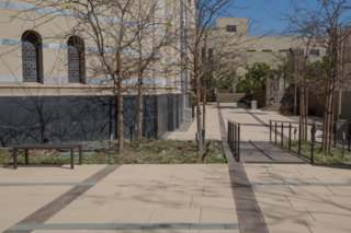 The Wilshire Boulevard Temple courtyard is paved with Stepstone's Large Scale CalArc Pavers, which are available in a wide range of sizes up to 24x60 inches.