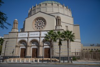 The Wilshire Boulevard Temple, located near downtown Los Angeles on the Wilshire Boulevard, was completed in 1929. It has long been an LA landmark, its Byzantine-style dome visible from the highway.