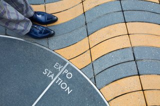 Inspired by a walkway in Barcelona, Spain, Stepstone's Wave Pavers create an undulating effect beneath pedestrians.