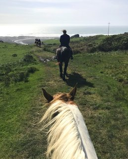 We climb the hills on horseback for a bird's eye view of the beach.