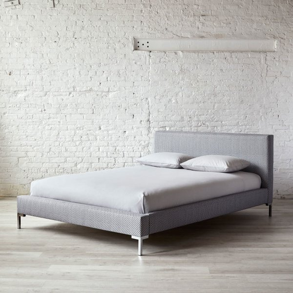 Mesh Gray Platform Bed Queen