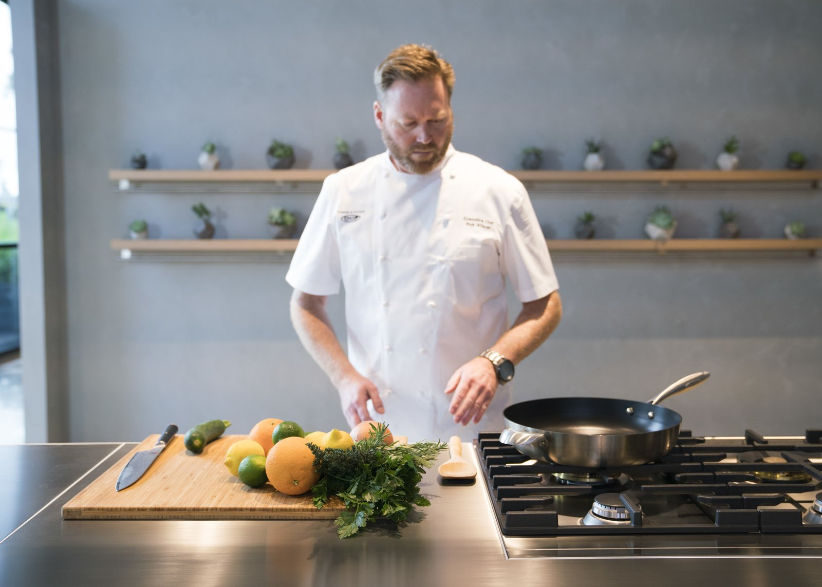 The company's executive chef is on-site to prepare fresh, inventive dishes and demonstrate the performance of Fisher & Paykel's well-considered designs.