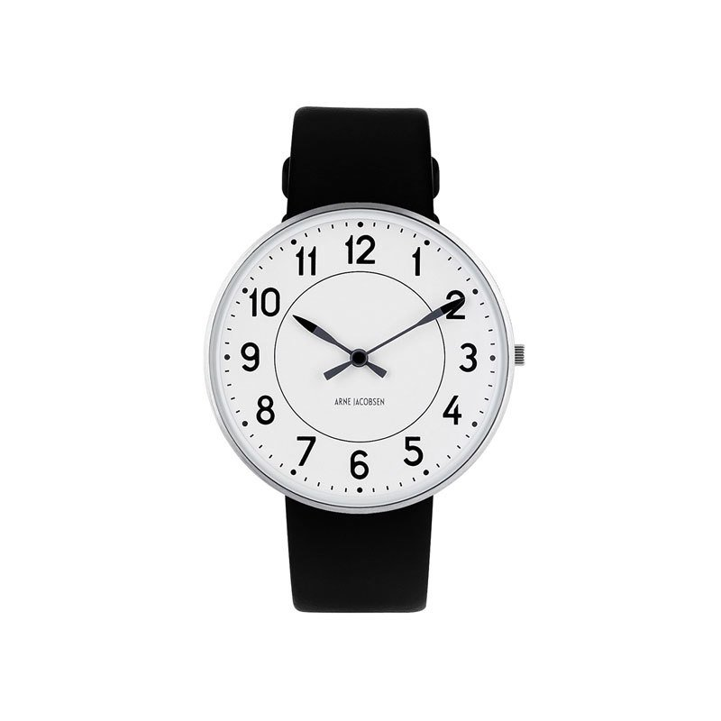Rosendahl Station Wristwatch - White Face/Black Leather