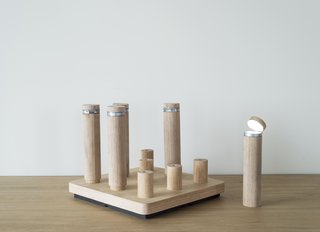 The apartment features portable power-powered light-up pegs that can be used as flashlights.