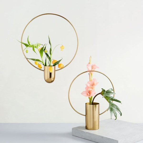 West Elm Brass Ring Vases