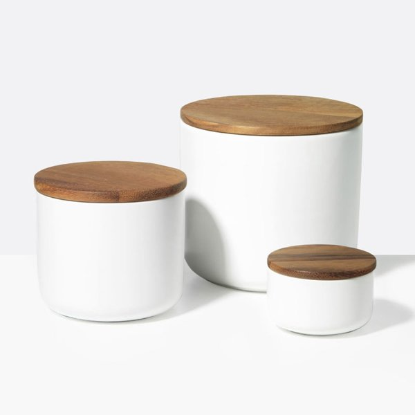 Stoneware Container White, Large