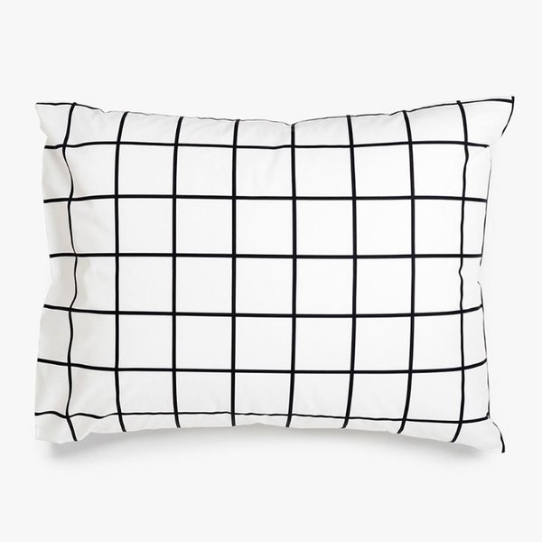 Grid Black Pillowcase Set, Standard