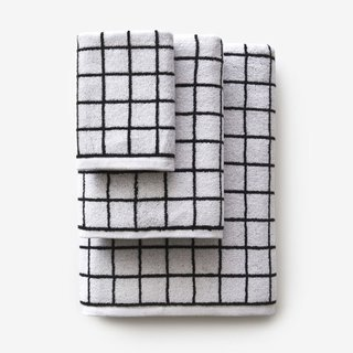 Mini Grid Black Bath Towel
