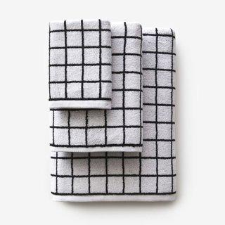 Mini Grid Black Bath Towel
