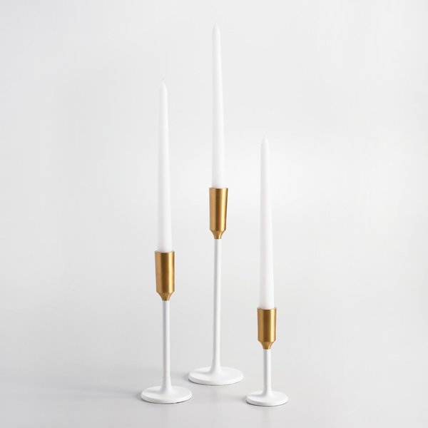 Cost Plus World Market White Metal Taper Candleholder With Gold Tip