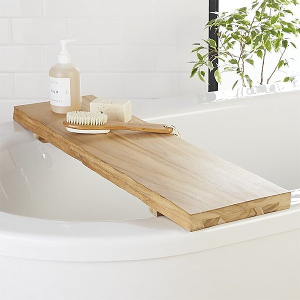 CB2 Live Edge Wood Bath Caddy