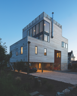 Located on the coast of New Jersey, the Sea Bright House often endures a damp sea breeze and chilly weather, given the time of year. Architect Jeff Jordan went with Western Red Cedar not only for it's warm and familiar appearance, but also because it withstands the elements.