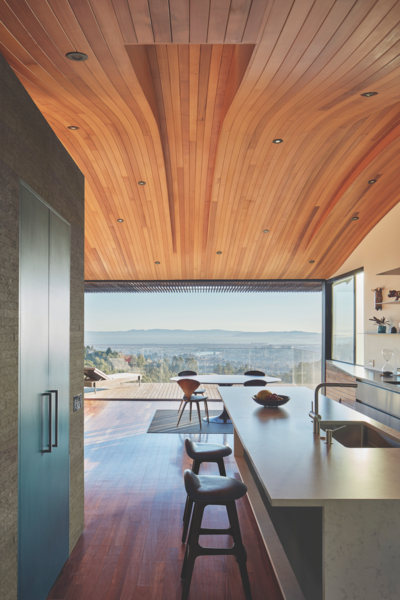 Western Red Cedar's flexibility lent itself to the ceiling's wavy form.