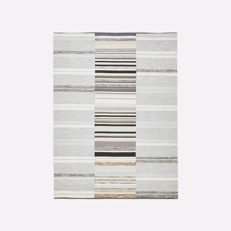 West Elm Mixed Stripes Cotton Dhurrie Platinum
