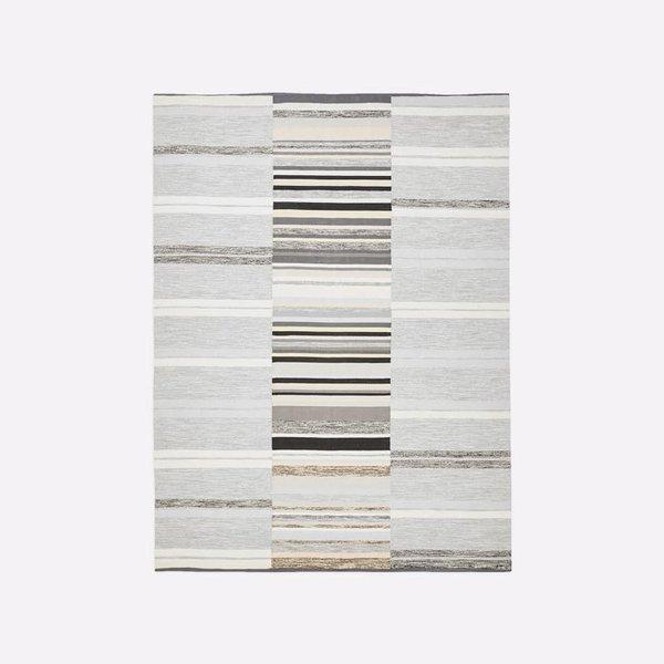 West Elm Mixed Stripes Cotton Dhurrie - Platinum