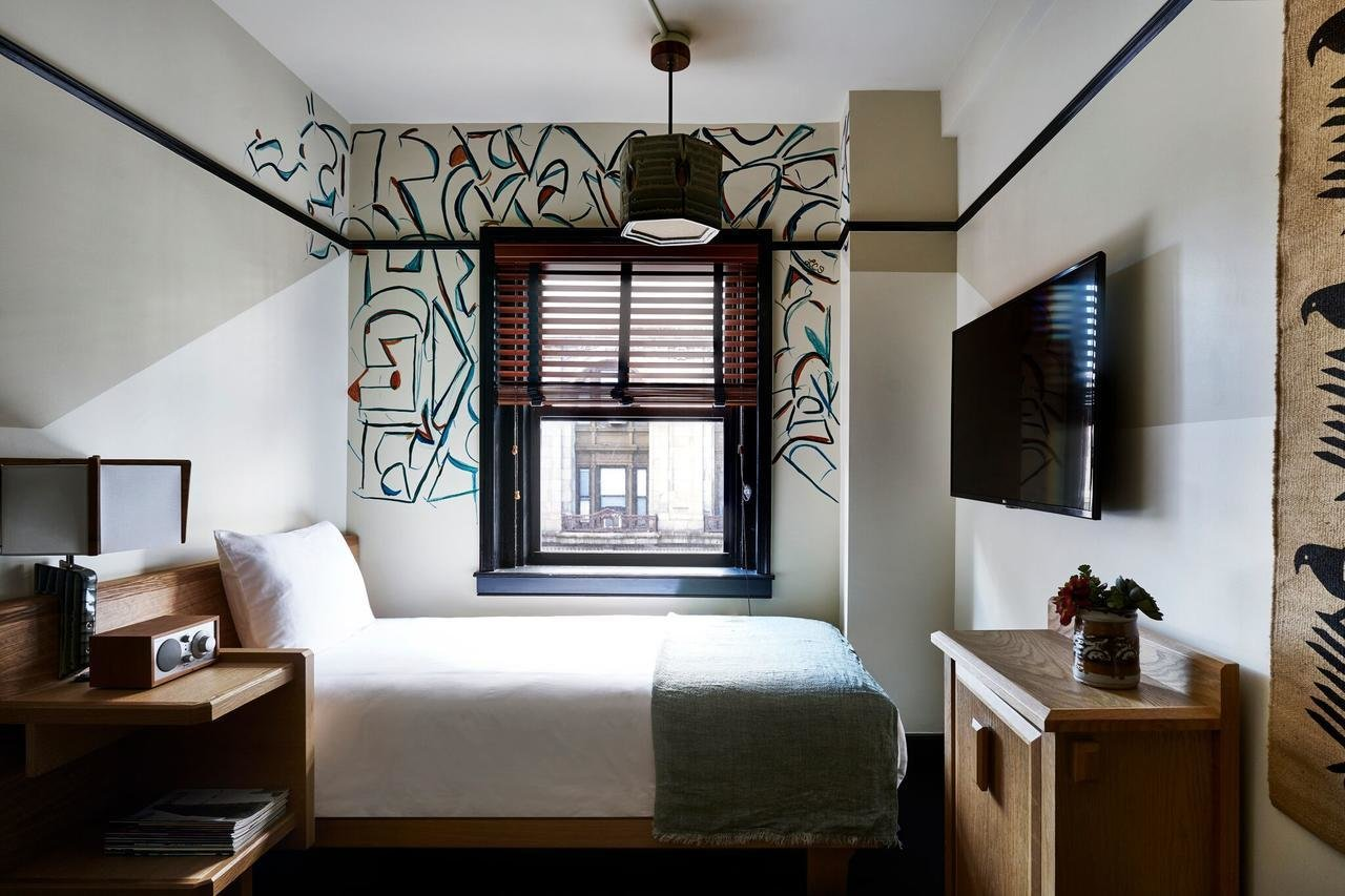 Bedroom, Ceiling Lighting, Bed, and Night Stands  Freehand New York