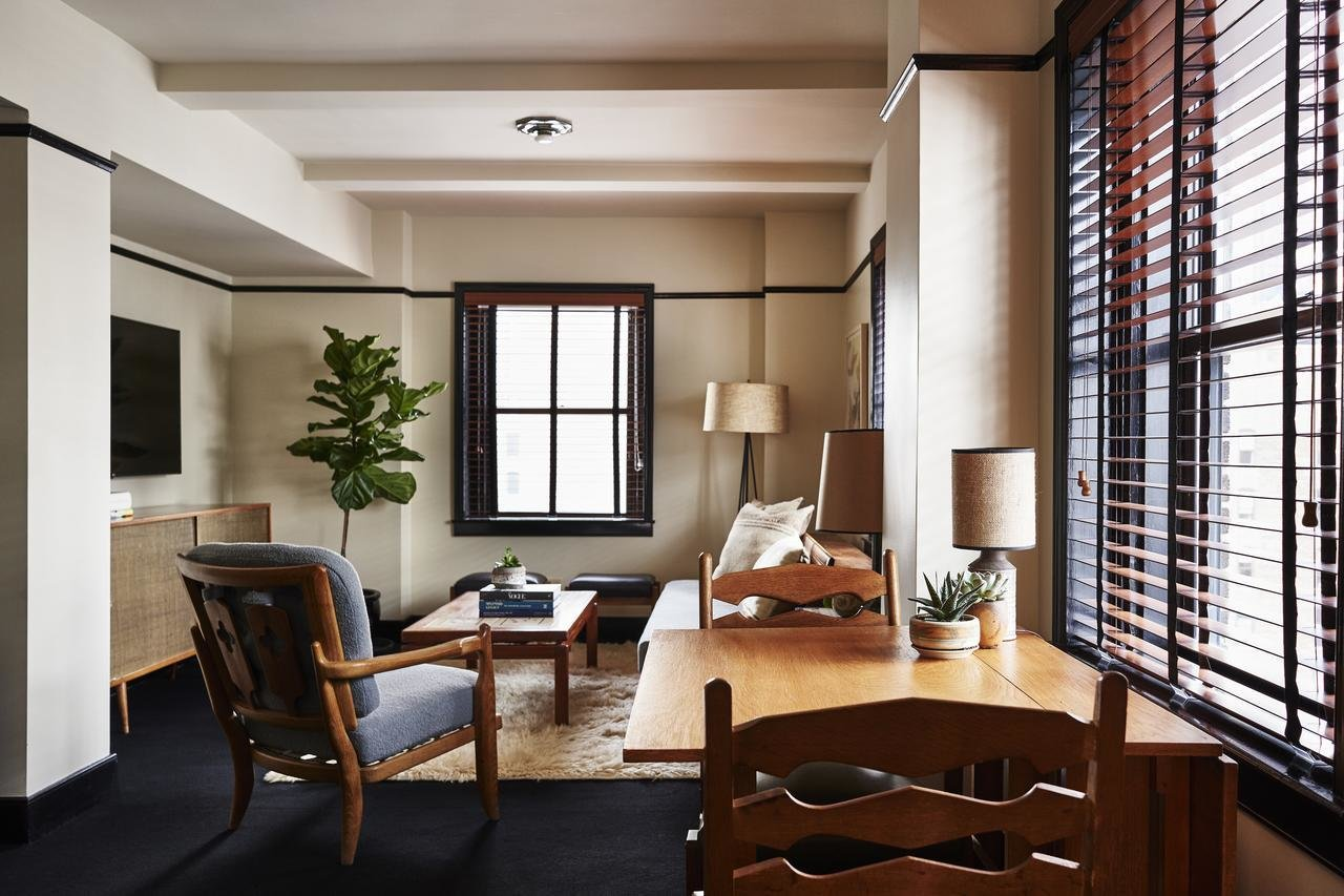 Living Room, Console Tables, Rug Floor, Table, Floor Lighting, Carpet Floor, Coffee Tables, Chair, Sofa, and Table Lighting  Freehand New York