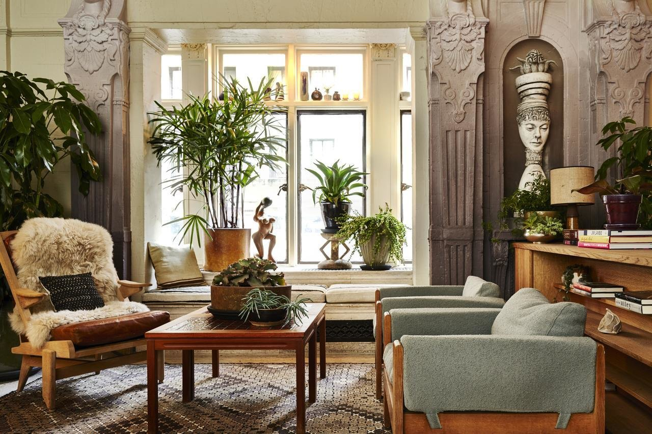 Living Room, Rug Floor, Coffee Tables, Console Tables, Bench, Chair, and Table Lighting  Freehand New York