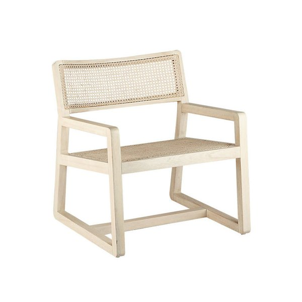 CB2 Makan White Wood and Wicker Lounge Chair
