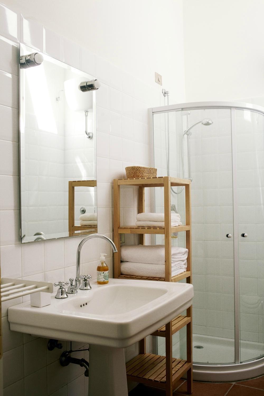 Bath Room, Corner Shower, Enclosed Shower, Wall Lighting, and Vessel Sink  Villa Lena Agriturismo
